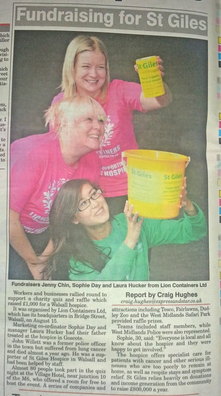 Lion Containers and St. Giles Hospice in The Express & Star